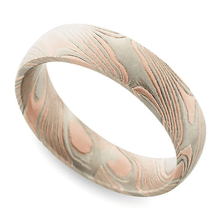 Tri-Tone Mokume Gane Comfort Fit Wedding Ring