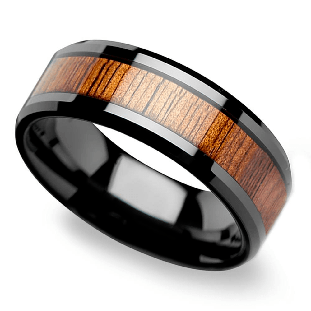 Koa Wood Inlay Men's Beveled Ring In Black Ceramic