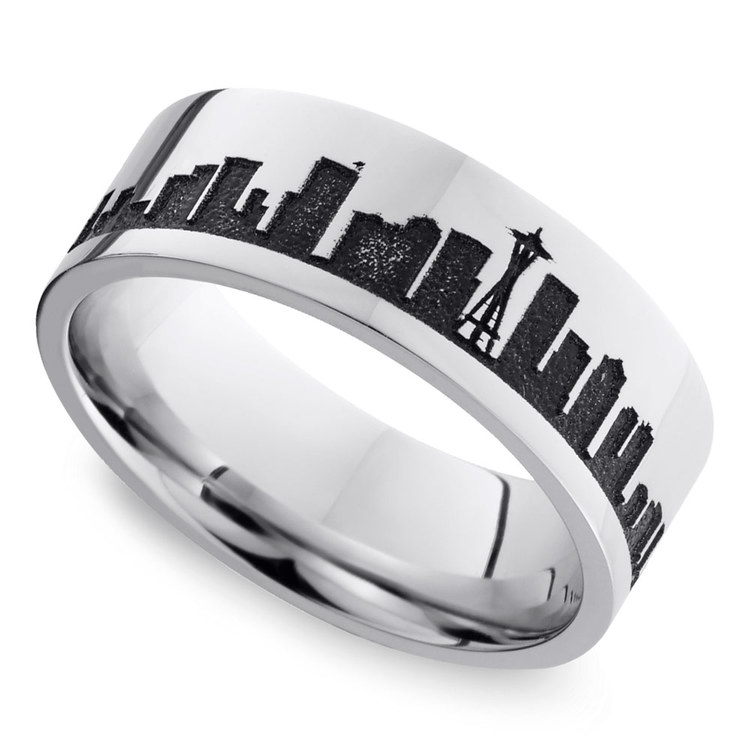Seattle Skyline Men's Wedding Ring In Cobalt