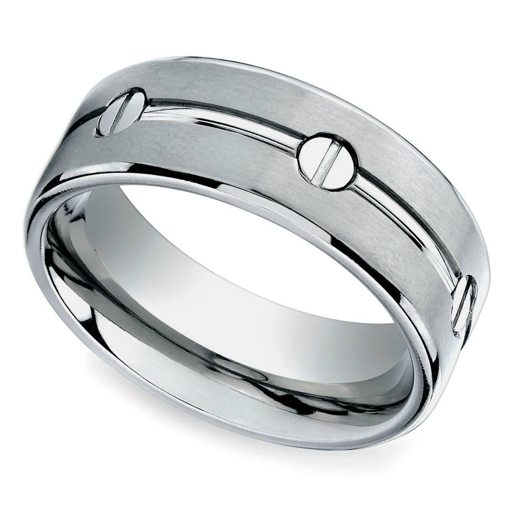 Screw Design Men's Wedding Ring In Titanium