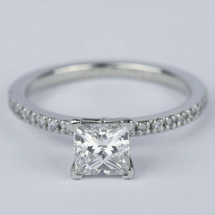 Petite Pave 1.01 Carat Princess Diamond Engagement Ring