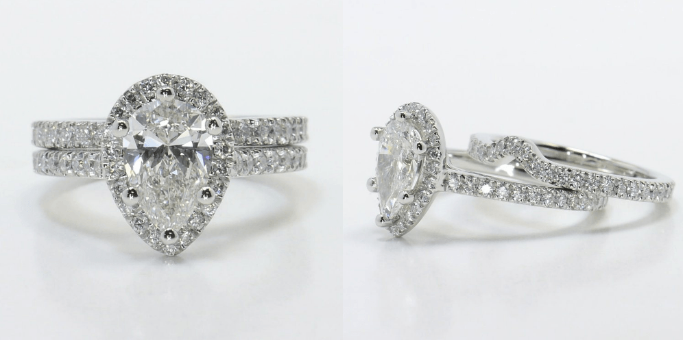 Delicate Pave Halo Diamond Ring with Contoured Matching Band