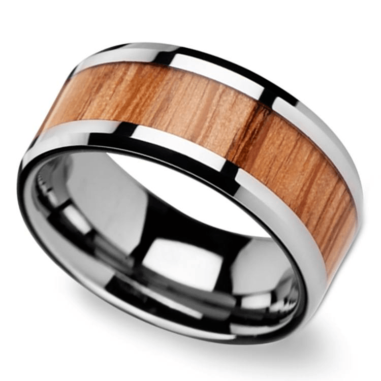 Beveled Men's Ring With Red Oak Wood Inlay In Tungsten