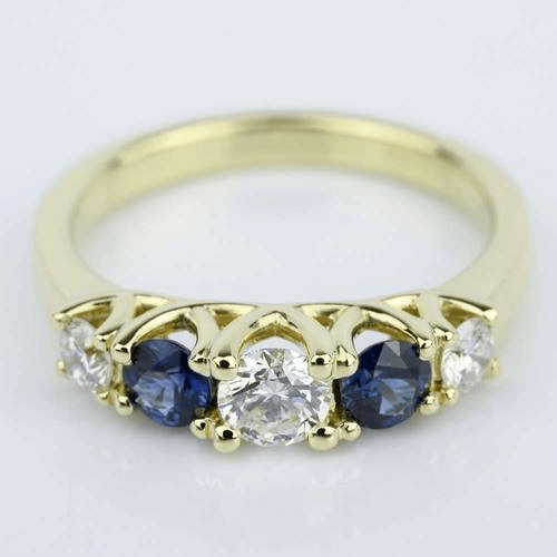 Trellis Sapphire and Diamond Gemstone Engagement Ring