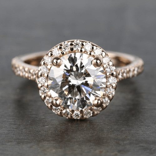 Custom Rose Gold Diamond Eternity Halo Engagement Ring