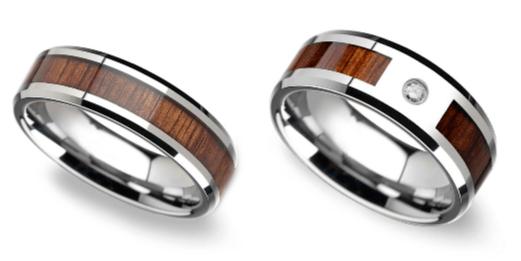Beveled Ring & Beveled Diamond Men's Wedding Ring With Koa Wood Inlay In Tungsten