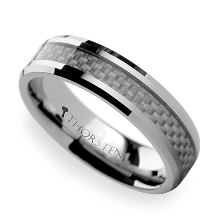 Beveled Tungsten Men's Ring with White Carbon Fiber Inlay