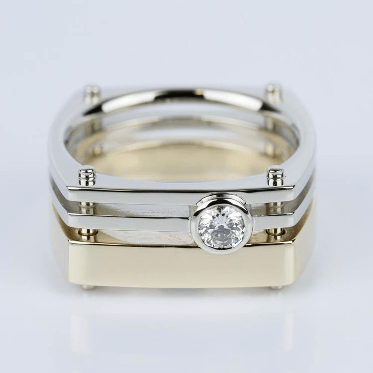 Custom Solitaire Men's Wedding Band in White & Yellow Gold