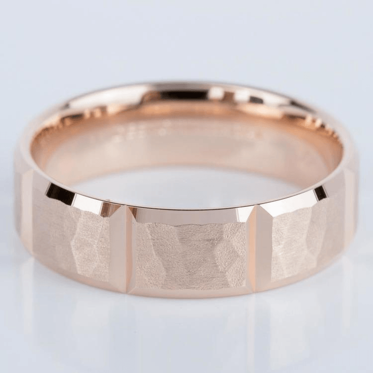 Hammered Carved Men's Wedding Ring in Rose Gold