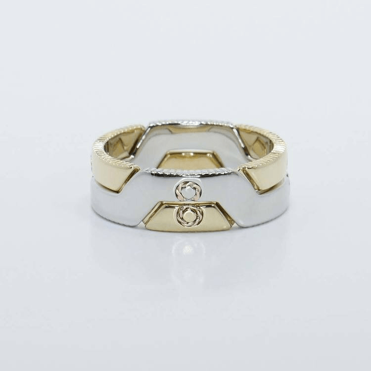 Dual Tone Interlocking Puzzle Wedding Bands