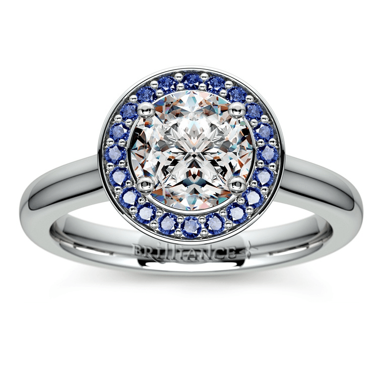 Halo Sapphire Gemstone Engagement Ring In Platinum