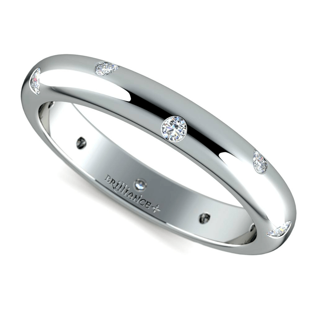 Inset Diamond Wedding Ring In Platinum