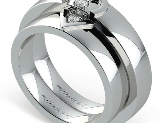 Matching Split Heart Diamond Wedding Ring Set In White Gold