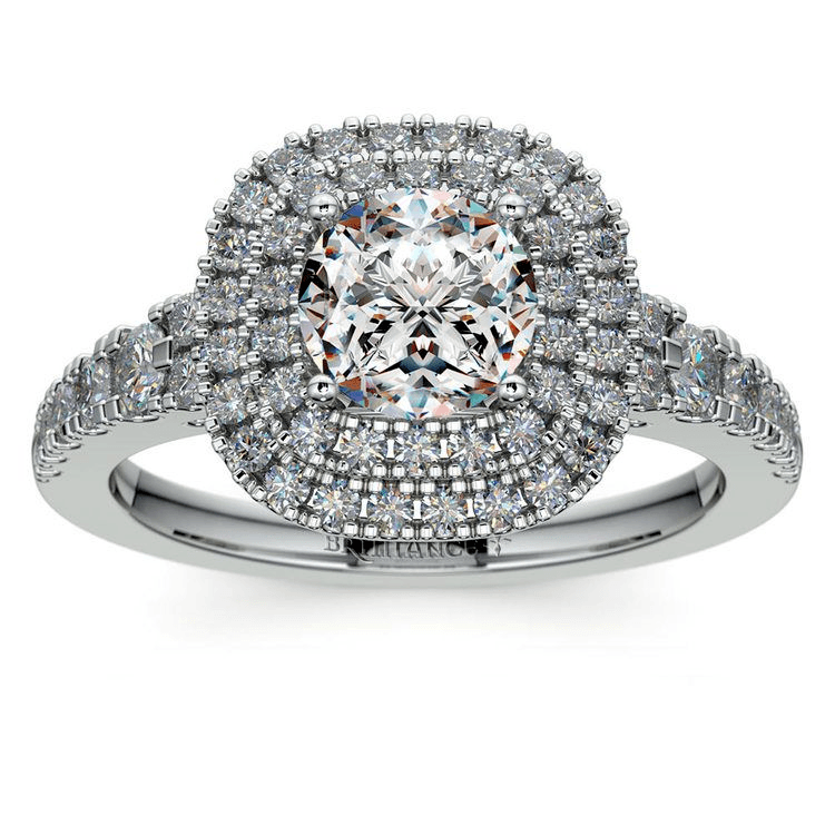 Square Double Halo Diamond Engagement Ring In White Gold