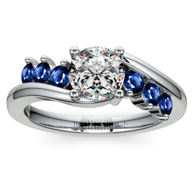 Swirl Style Sapphire Gemstone Engagement Ring In Platinum