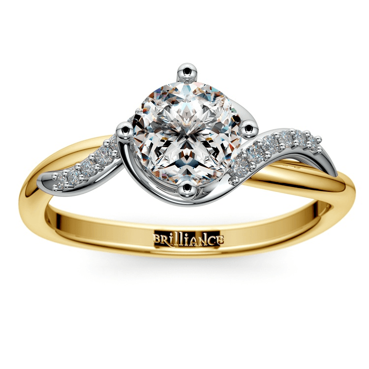 Twisted Vintage Diamond Engagement Ring In Two-Tone Gold