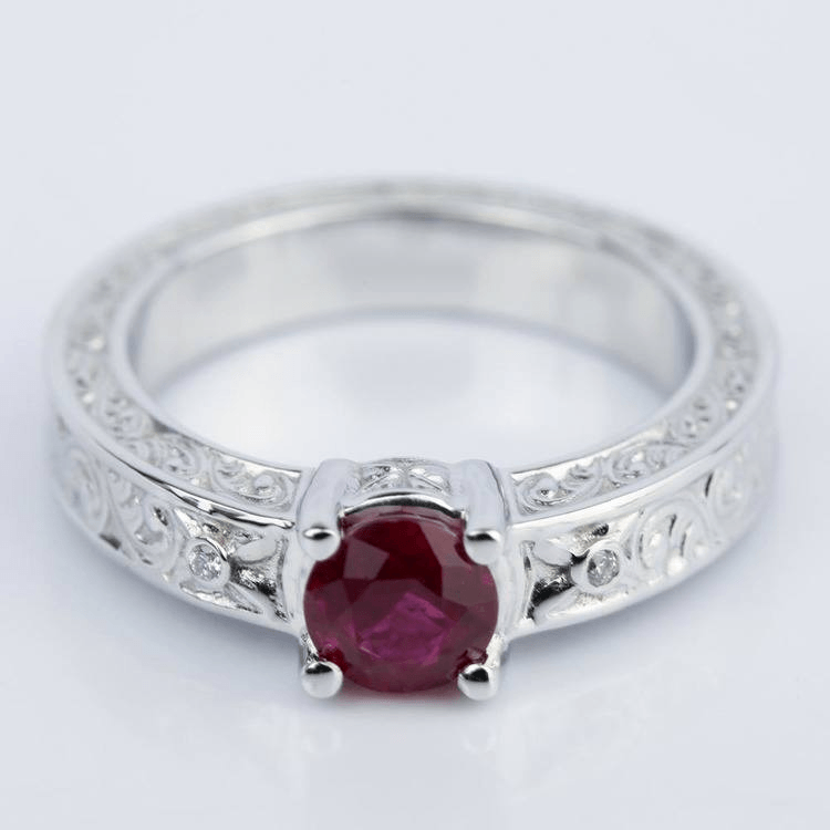 Vintage Hand-Engraved Ruby and Diamond Engagement Ring