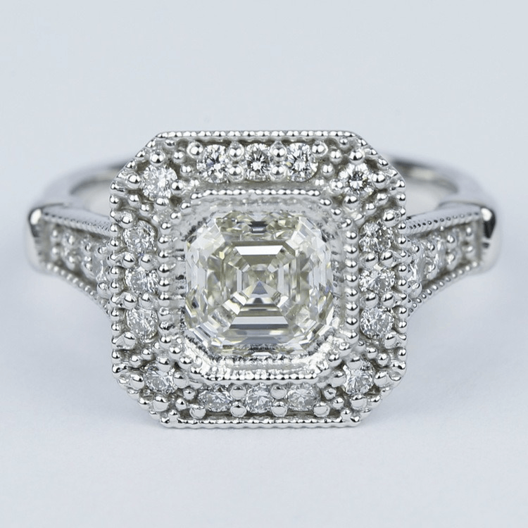 Vintage-Inspired Asscher Diamond Halo Engagement Ring