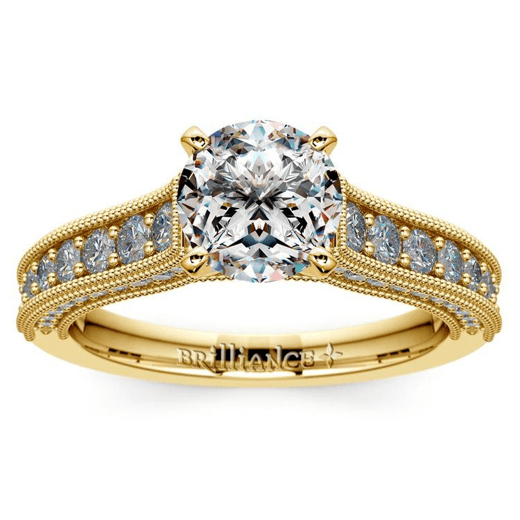 Vintage Milgrain Diamond Engagement Ring In Yellow Gold
