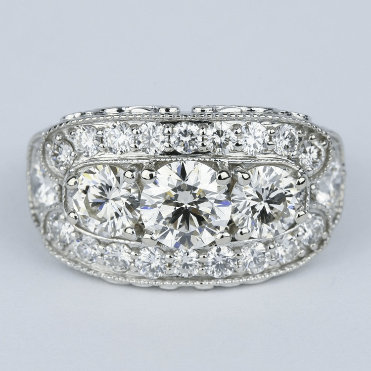 Vintage Statement Three-Diamond Diamond Engagement Ring