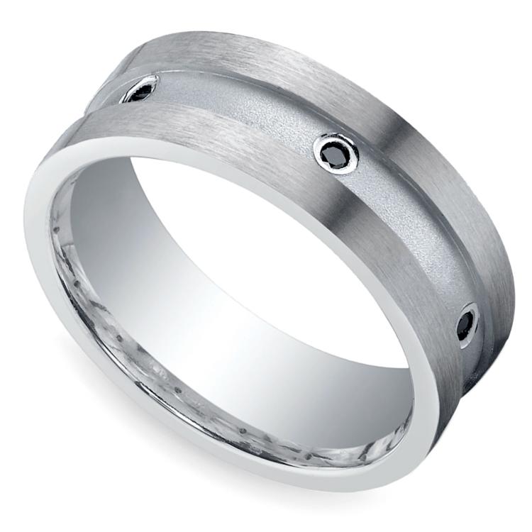 Black Diamond Men's Wedding Ring In Silver