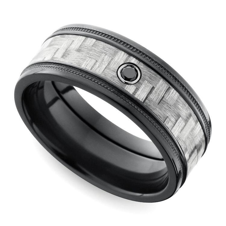 Carbon Fiber Men's Ring With Black Diamond In Zirconium