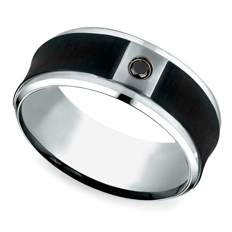 Concave Black Diamond Men's Wedding Ring In Cobalt