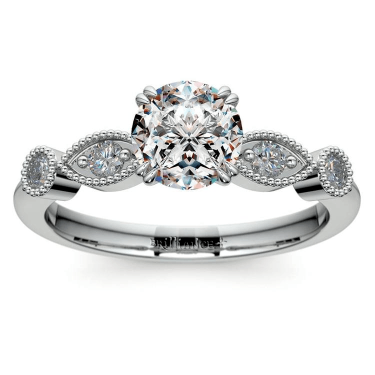 Edwardian Style Antique Diamond Engagement Ring In White Gold All