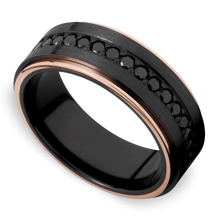 Monarch - Black Diamond Zirconium Mens Wedding Band