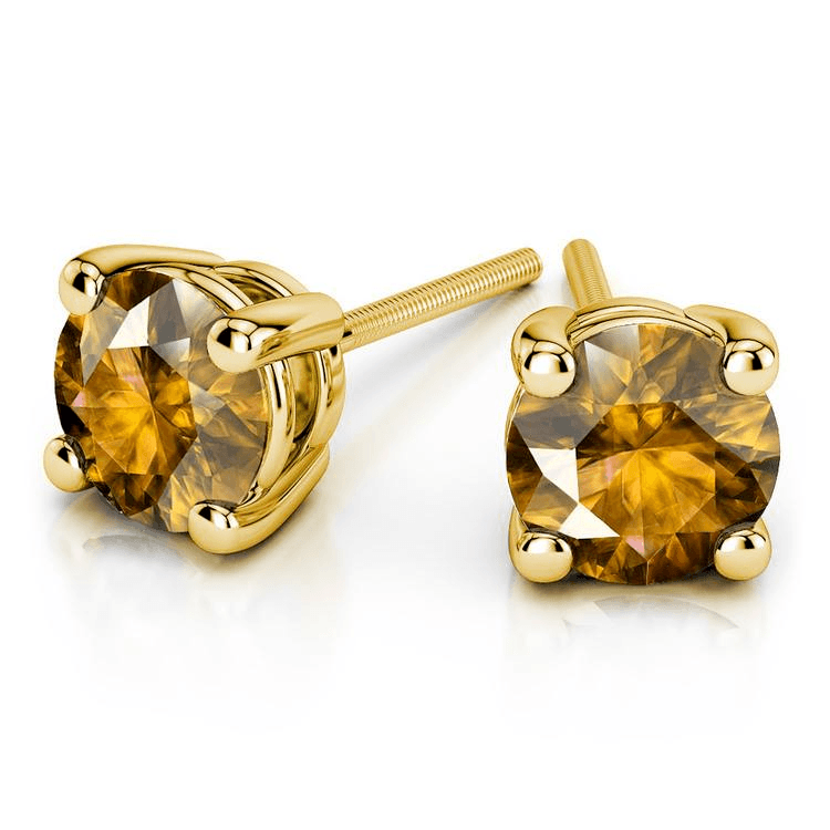 Citrine Round Gemstone Stud Earrings In Yellow Gold