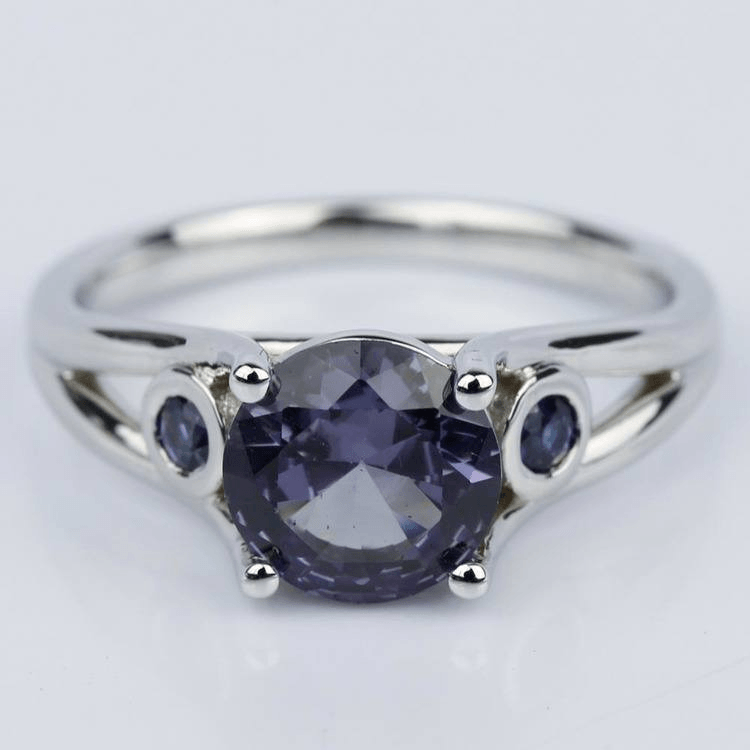 Custom Alexandrite and Sapphire Gemstone Engagement Ring