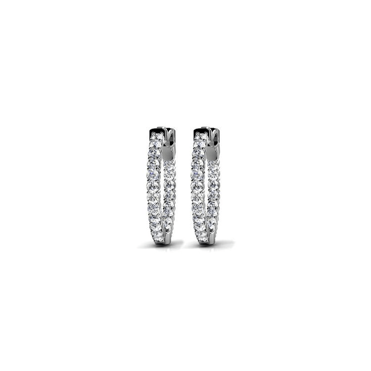 Diamond Hoop Earrings In White Gold