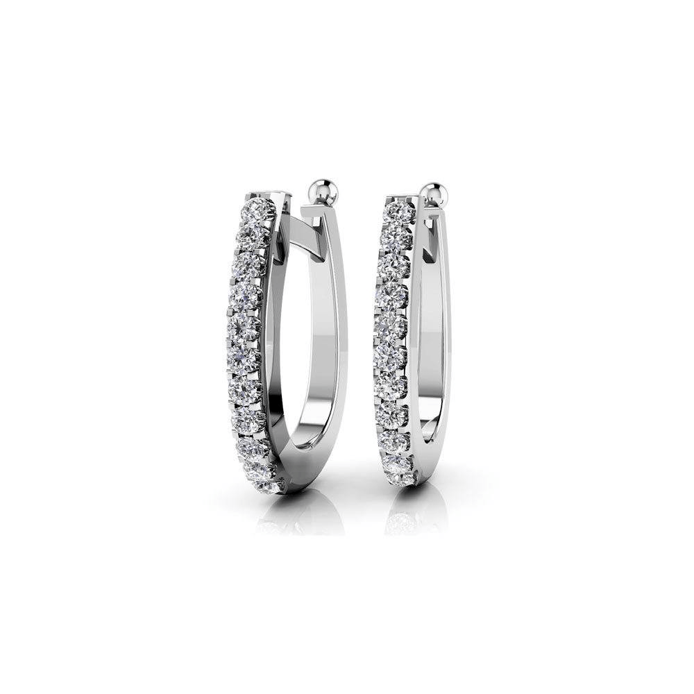 Huggie Diamond Earrings In White Gold