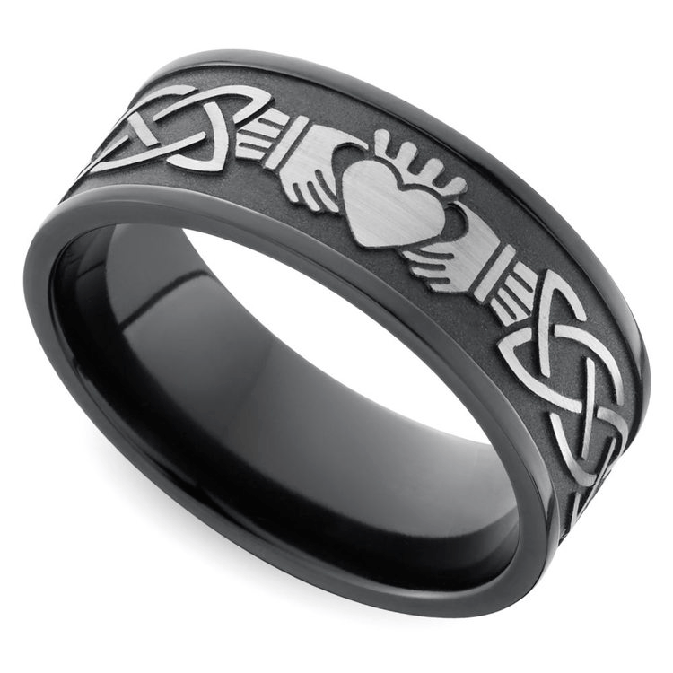 Laser Carved Celtic Claddagh Men's Wedding Ring In Zirconium