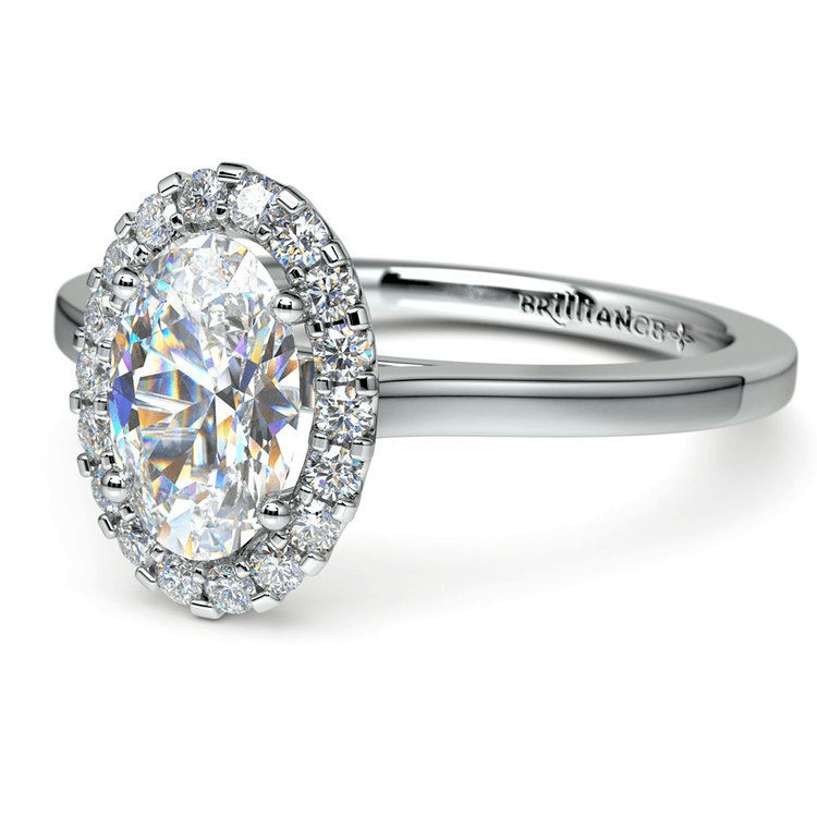 Oval Halo Moissanite Engagement Ring In White Gold