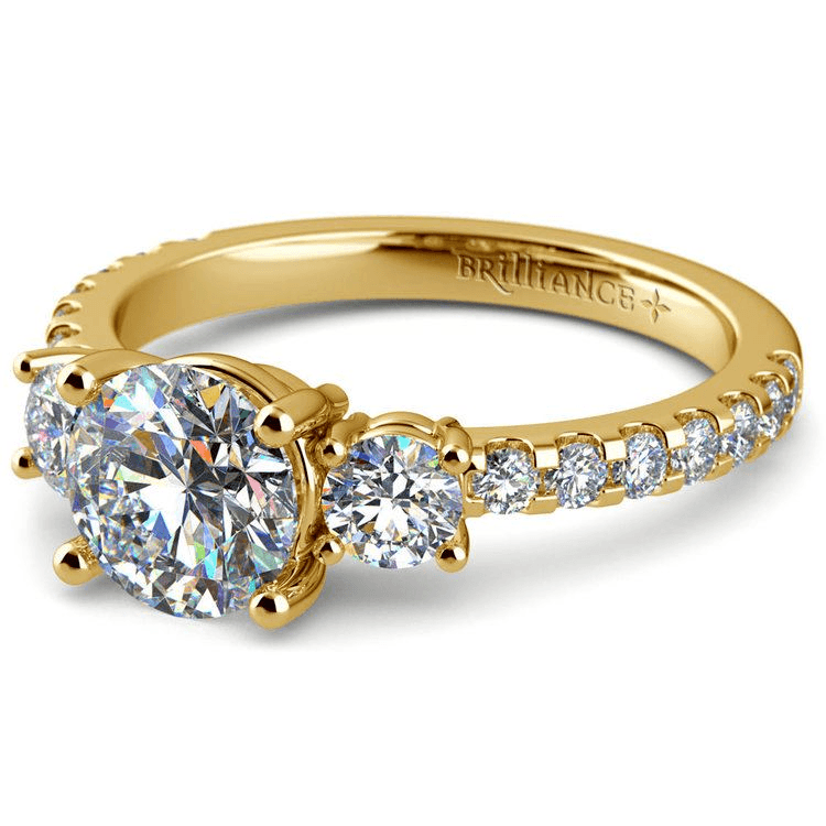 Three Stone Moissanite Engagement Ring In Yellow Gold