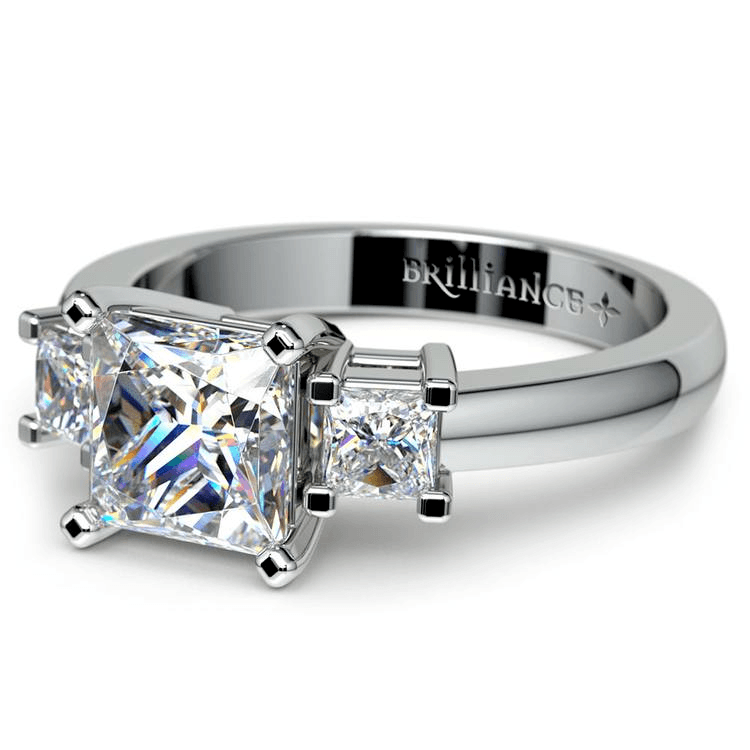 Three Stone Princess Moissanite Engagement Ring In White Gold