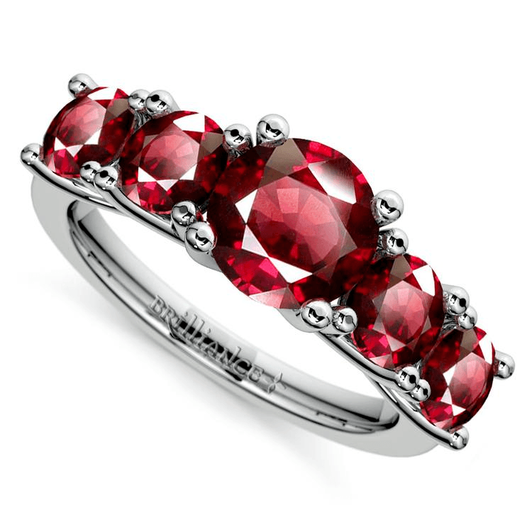 Trellis Five Ruby Gemstone Ring In Platinum