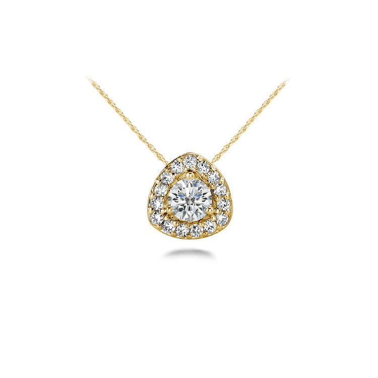 Triangle Halo Diamond Pendant In Yellow Gold (1/4 Ctw)