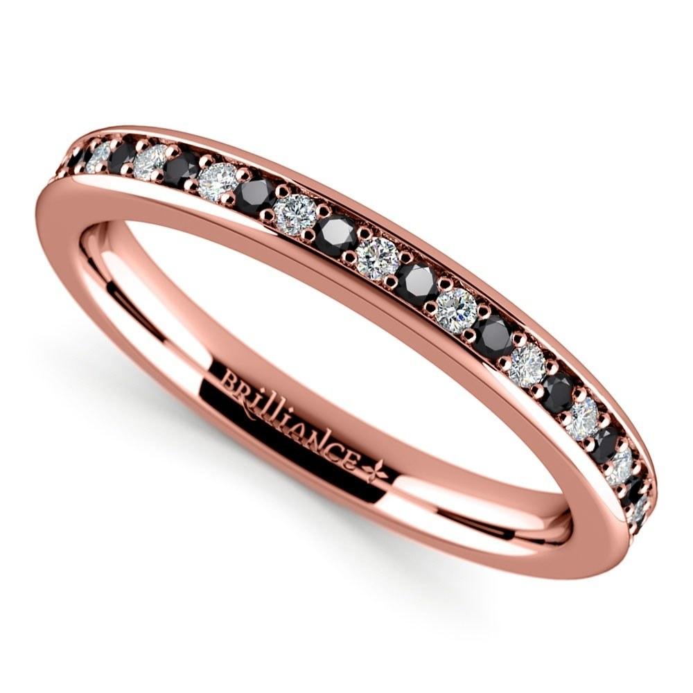 Pave Black & White Diamond Wedding Ring In Rose Gold