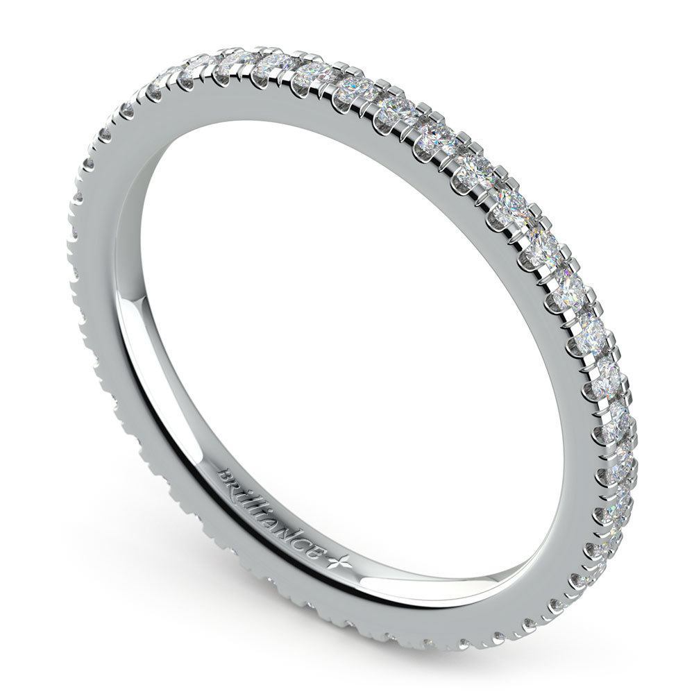 Petite Pave Diamond Eternity Ring In White Gold
