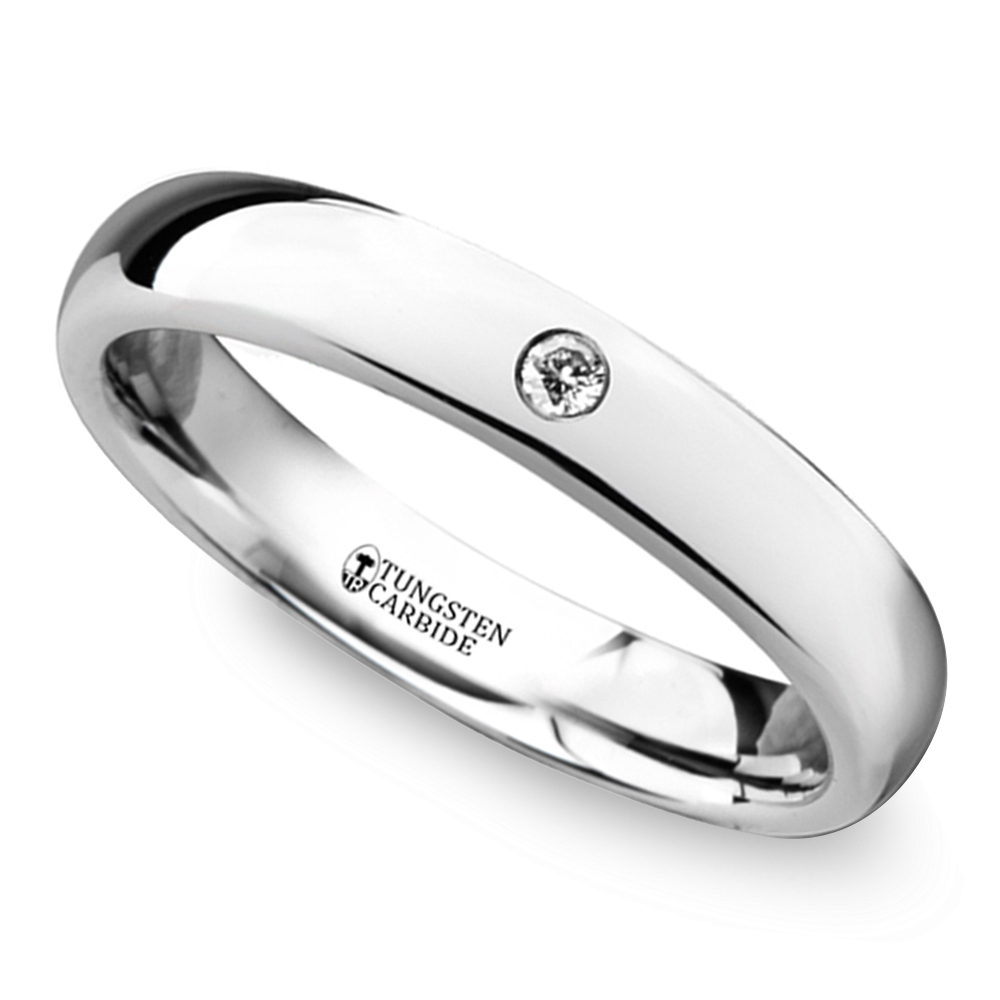Polished Inset Diamond Wedding Ring In Tungsten