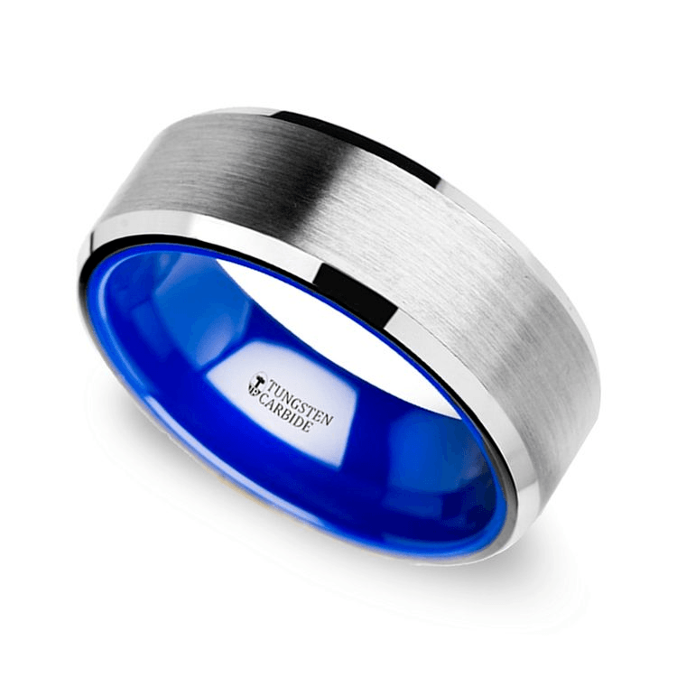 Men's Tungsten Wedding Ring With Blue Ceramic