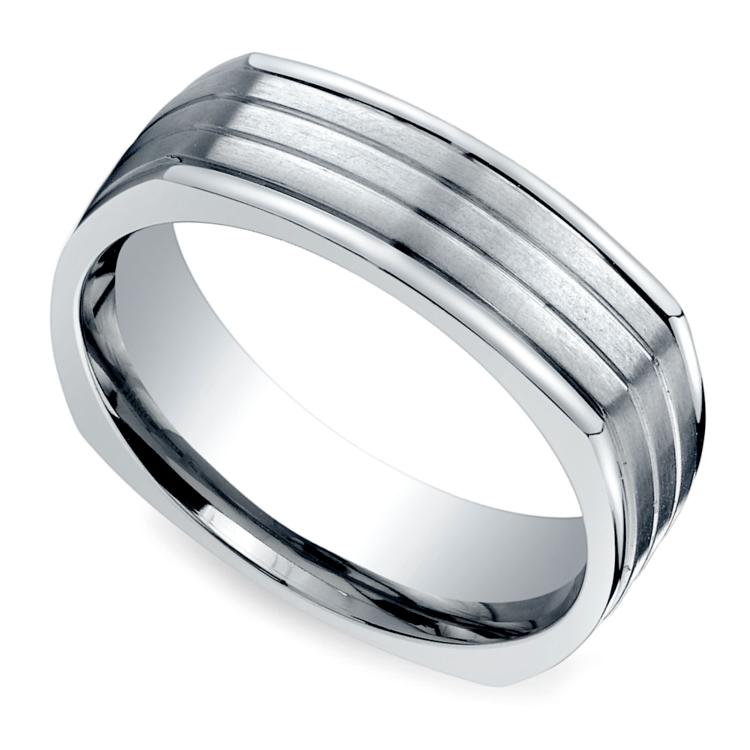 Sectional Men's Wedding Ring In Titanium