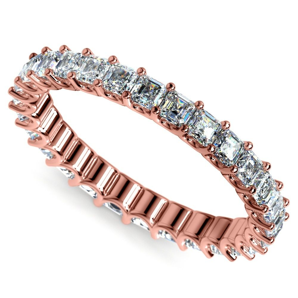 Asscher U-Prong Diamond Eternity Ring In Rose Gold (2 Ctw)