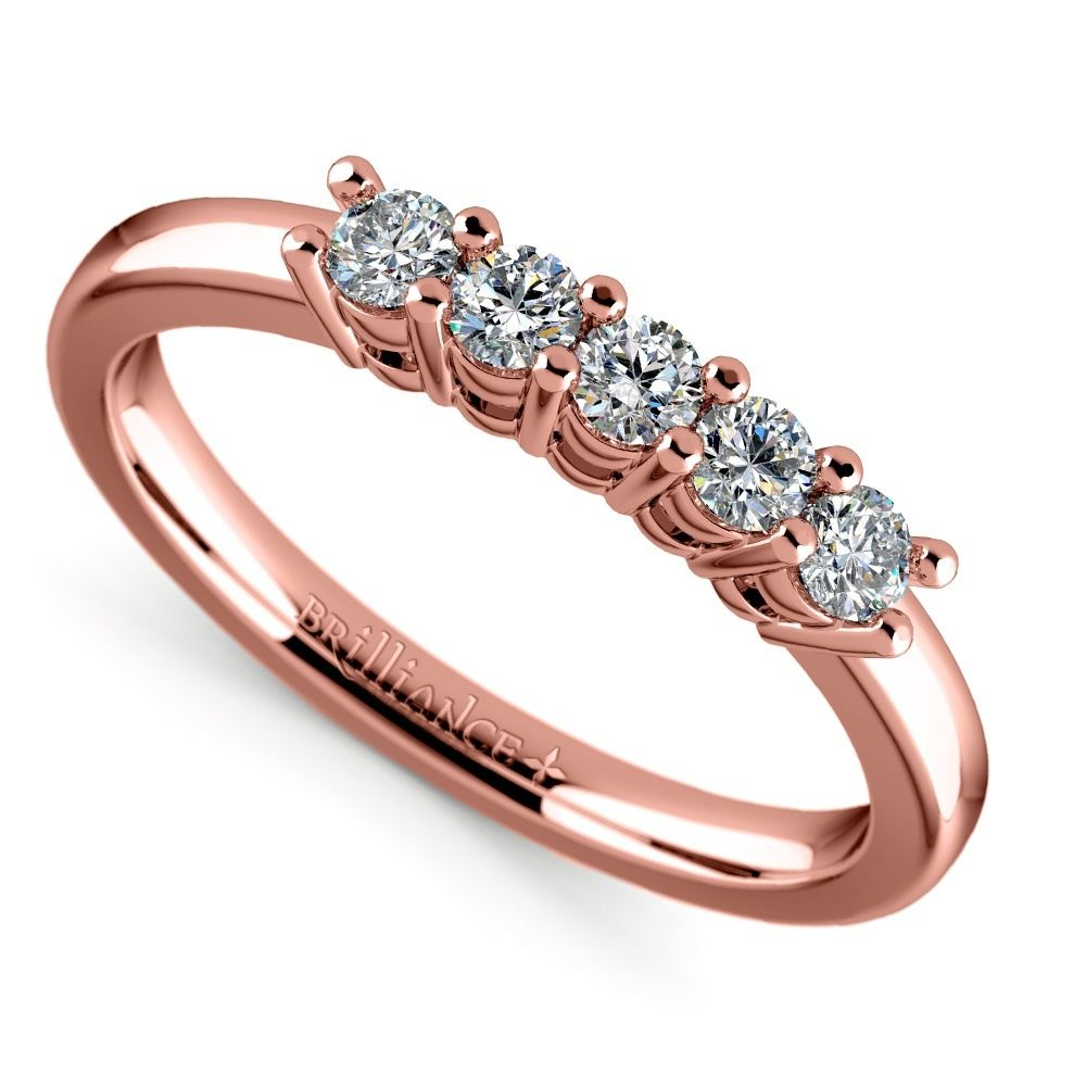 Five Diamond Wedding Ring In Rose Gold