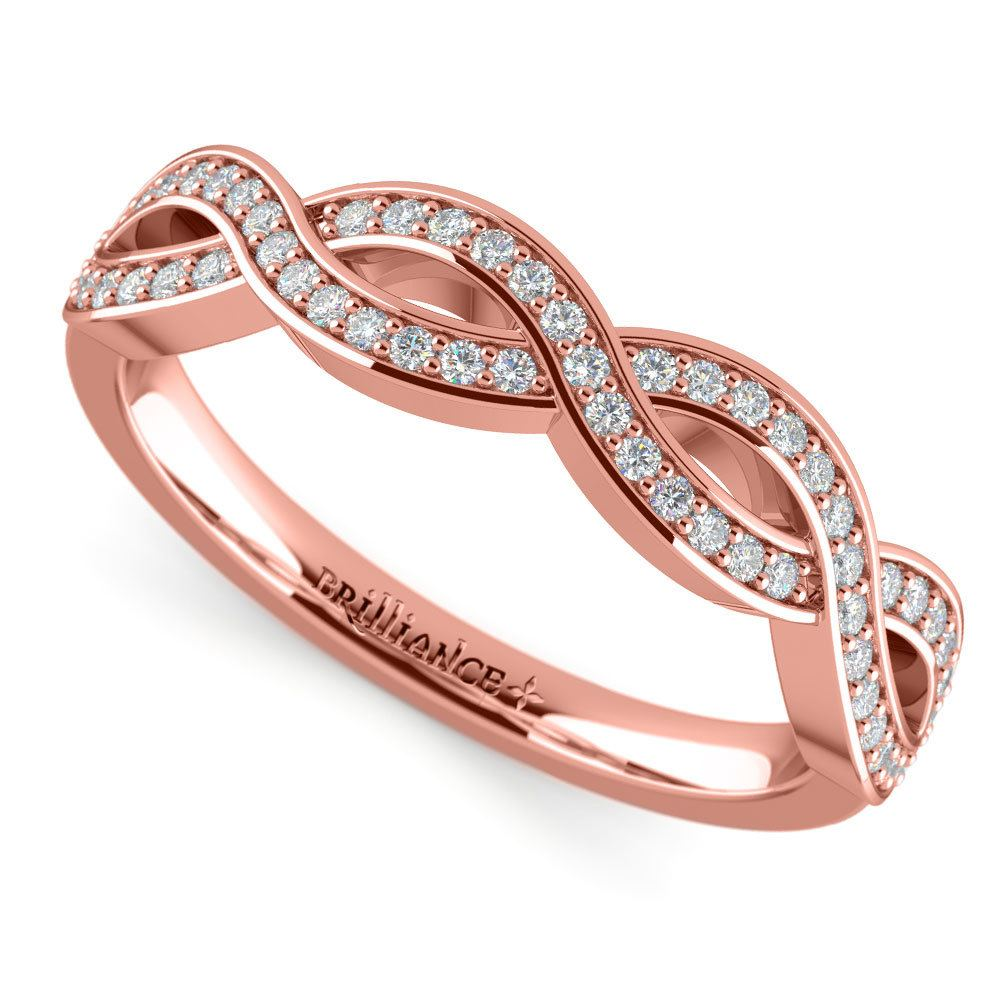 Infinity Twist Diamond Wedding Ring In Rose Gold