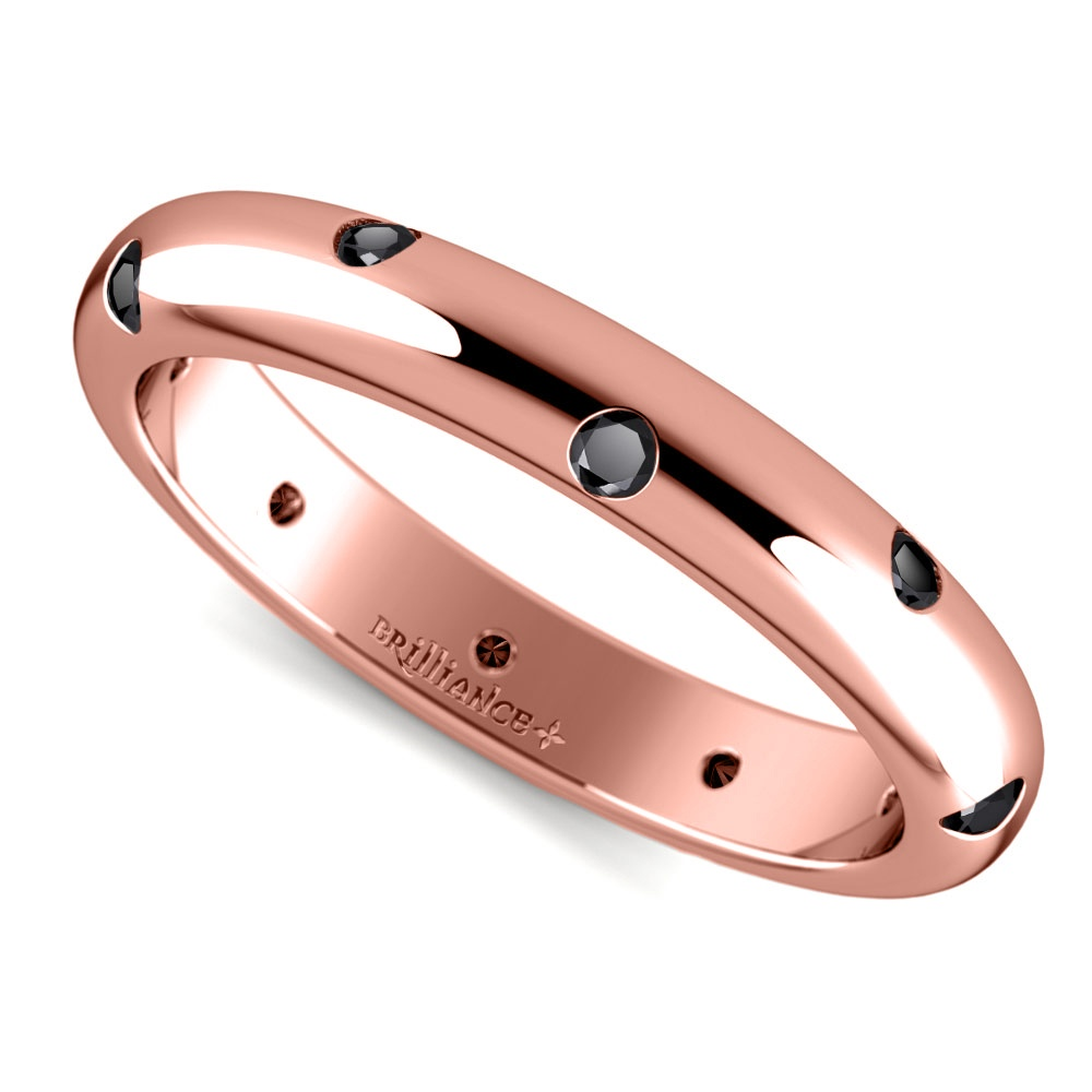 Inset Black Diamond Band In Rose Gold (3 Mm)
