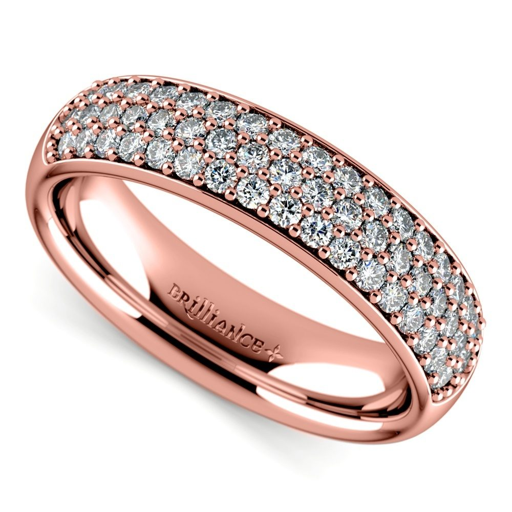 Three Row Pave Diamond Wedding Ring In Rose Gold